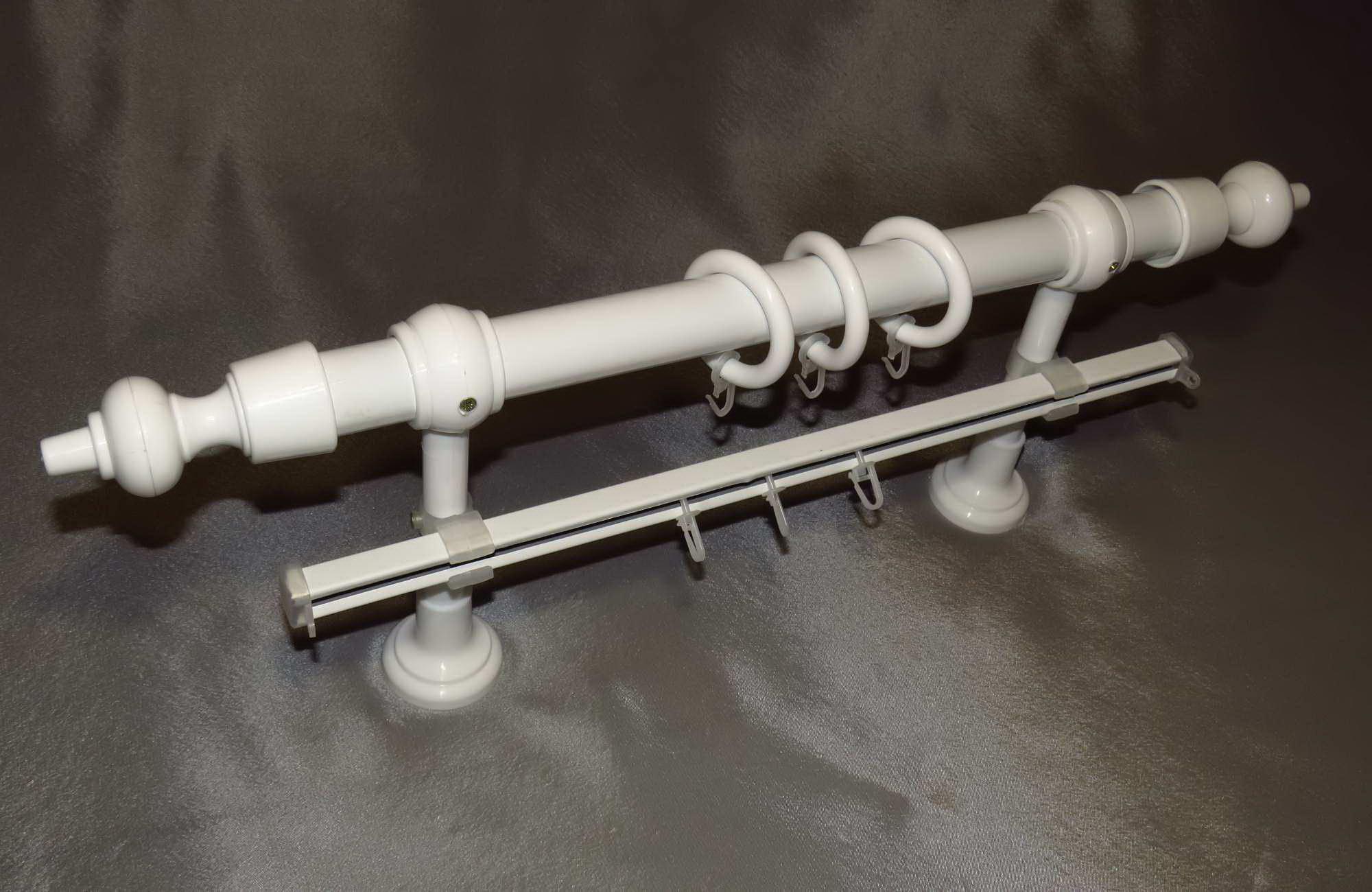 Карниз круглый D28 мм пластик 1,6 м 2 ряд. белый