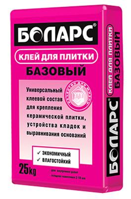БОЛАРС Клей БАЗОВЫЙ 25кг Уценка для плитки 2-10 мм д/внутр.плит.ремонт.раб.